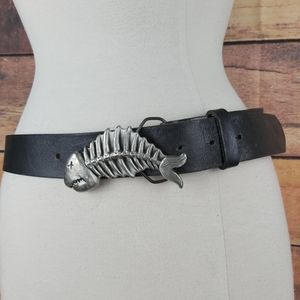 Skull fish removable buckle leather belt unisex